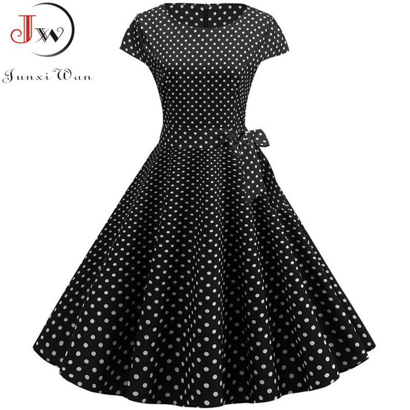 Retro Black Polka Dot Summer Dress Women 2019 Vestidos Robe Femme Vintage Pin Up Dress 50s 60s Rockabilly Party Dress Plus Size