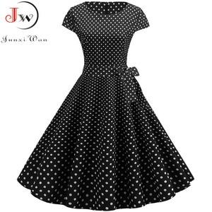 Vintage Kleid Frauen 2019 Sommer Kurzarm Elegante Polka Dot Midi Casual Büro Party Kleid 50s 60s Pin up Rockabilly Kleider