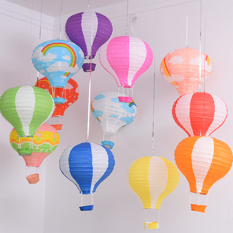 Rainbow Printing Paper Lantern 30cm Hot Air Balloon Wedding Decoration Children's Bedroom Hanging Birthday Party Decorations
