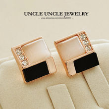 Simple Geometric Elements Rose Gold Color High Quality Opal Inlaid Black Acrylic Square Woman Stud Earring Wholesale(China)