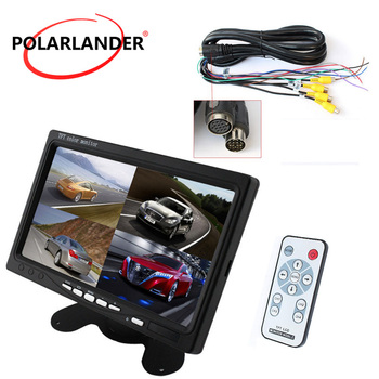 """PolarLander Car Video Monitor DC12V-24V 7"""" LCD 4CH Video input For Front Rear Side View Camera Quad Split Screen 6 Mode Display"""
