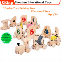Fast Delivery 14PCS SET Hot Sale Digital Number Animals Wooden Educational Toys Chinese Zodiac Train Building