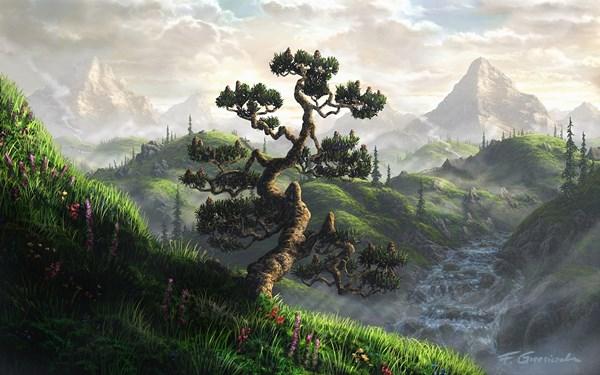 Горы Пейзажи деревья работа водопады реки Волшебная гостиная Главная Wall Art декор деревянной раме ткань плакаты ...