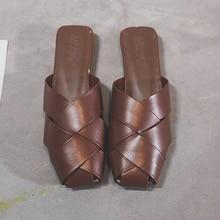 купить Moxxy Heel Slides Women Mules Pointed Toe Slippers Women Wooden Heel Slippers Ladies Mules Female Fashion Slides Flip Flops дешево