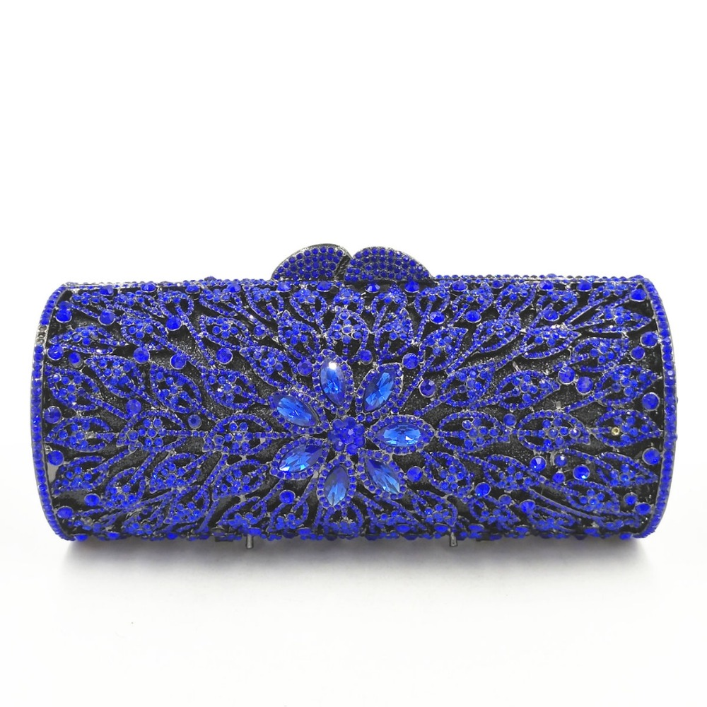 цена на Bridal Metal blue Clutch Floral Bag Women Crystal Gold Evening Bag Wedding Party Handbags Purse Lady Diamond Rhinestone Clutches
