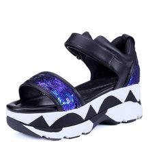 2016 sommer Mode Sexy glitter rindsleder Pailletten Tuch Thck High Heels Schuhe frauen bling party hochzeit dicken sohlen dame sandalen