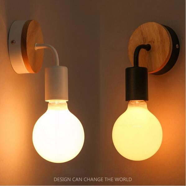 Personalized Light Bulb Bedroom Study Aisle Wall Lamp Nordic Solid Wood Corridor Bedside Bathroom Mirror Before