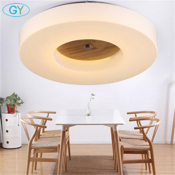 Modern minimalist led ceiling lamp dimming living room bedroom LED ceiling lighting circle acrylic shade wood decoration fixture