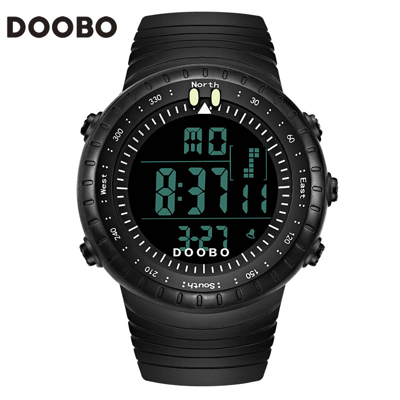 Top Brand DOOBO Cool Black Mens Fashion Large Face LED Digital Swimming Climbing Outdoor Man Sports Watches Christmas Boys Gift