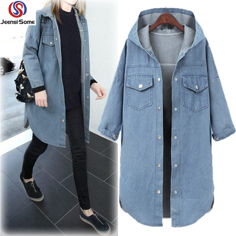 Woman Long   Trench   Coat Hooded Long Sleeve Denim Outerwear Tops Single Breasted Jeans Overcoat Fashion Autumn XL-3XL