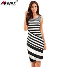 a96b36b47c3d ADEWEL Casual WOMEN Striped Dress Summer round Neck Sleeveless Midi dRESS  lADIES wORK Dresses In white Navy OFFICE dRESS