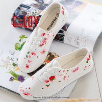 E LOV Brand New Pink Floral Pattern Personalized Platform Shoes Cute Women Adult Casual Shoes Design