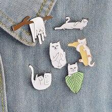 1 шт. мультяшная Милая Белая кошка металлическая брошь на пуговицах джинсовая куртка булавка Ювелирное Украшение значок для одежды нагрудные булавки