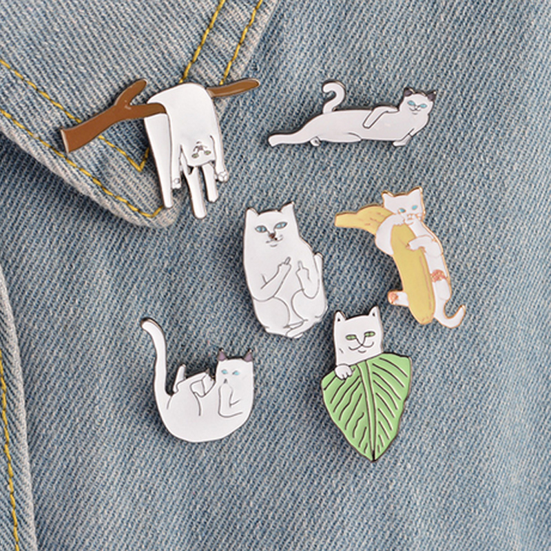 Arts,crafts & Sewing Home & Garden 1 Pcs Cartoon Cute White Cat Metal Brooch Button Pins Denim Jacket Pin Jewelry Decoration Badge For Clothes Lapel Pins