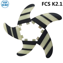 Surf Fins FCS2 K2.1 Fin White and Black Honeycomb Fibreglass FCS II Free Shipping
