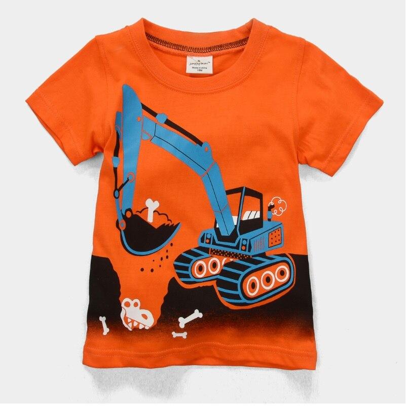 Hooyi 2018 Digger Boys Clothes Shirts Kids T Shirts Baby