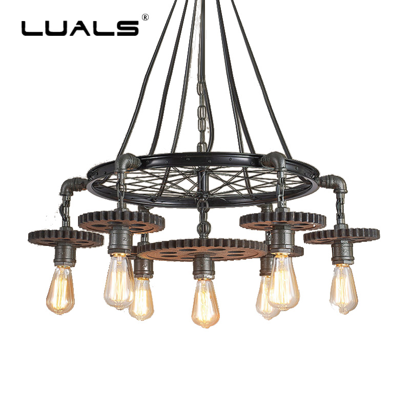 LUALS Loft Creative Gear Pendant Lamp Personality American Industrial Style Retro Light For Themed Restaurant Art Deco Lighting стойка для акустики cold ray s9 sm black tube white ash