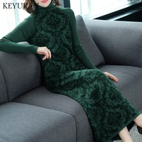 Women FashionTurtleneck Long Knitted Lace Dress Woman Straight Loose Sweater Dresses New Spring Autumn Winter Warm dress vestido