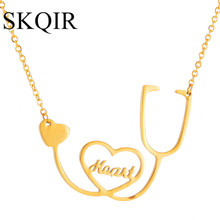 Letter Pendant Necklaces Gold Stethoscope Medical