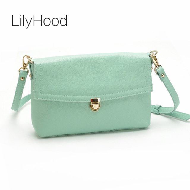 Lilyhood Female Genuine Leather Summer Small Shoulder Bag Leisure Pastel Candy Color Cute Pink Mint Green