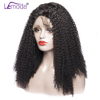 LeModa Lace Front Brazilian Afro Kinky Curly Human Hair Wigs For Black Women Pre Plucked Bleached Knots Remy Hair Wig