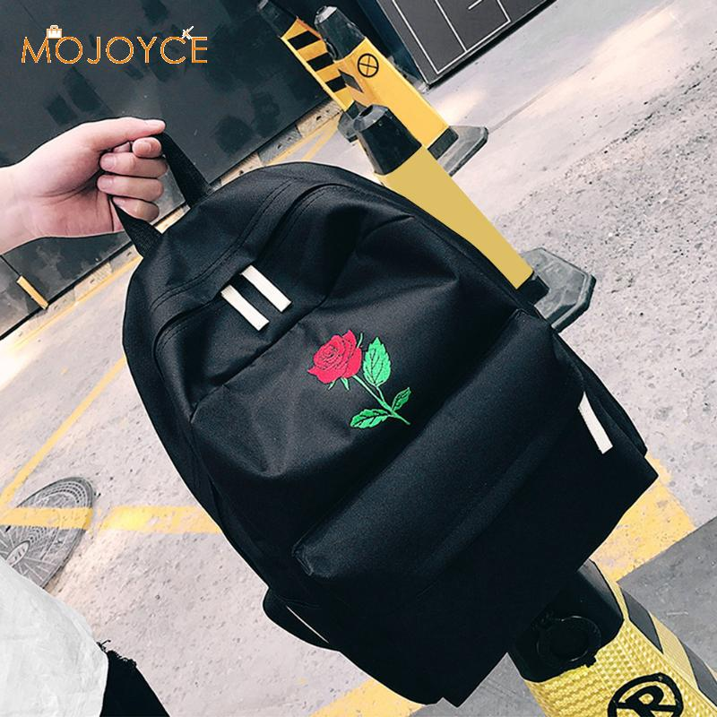 02fda51824ab Men Canvas Heart Backpack Cute Women Rose Embroidery Backpacks for Teenagers  Women s School Bags Mochilas Rucksack