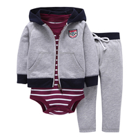 Free Shipping Autumn Spring Children Suits Kids Bebes Baby Boys Clothes Set Jacket Romper Pants Boy