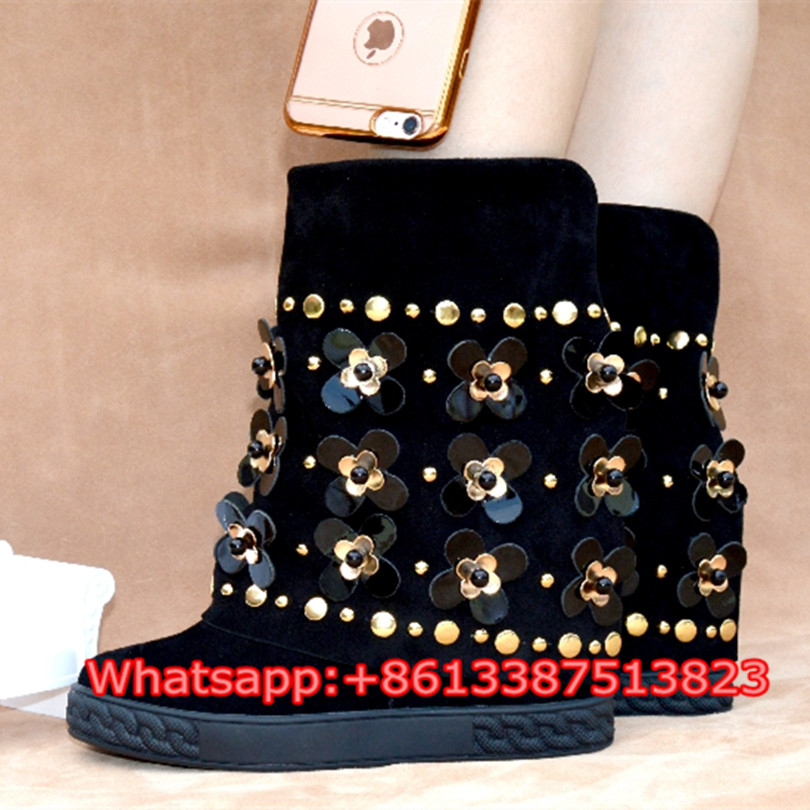 где купить Fashion Booties Crystal Flowers Buckle Studded Black Suede Concealed Wedges Women Boots Slip-On Ankle Botas Mujer Shoes Woman по лучшей цене