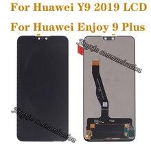 """6.5 """"화웨이 Y9 2019 LCD 디스플레이 터치 스크린 디지타이저 부품 교체 용 오리지널 디스플레이 9 플러스 수리 부품"""