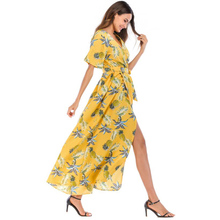 Summer thin chiffon deep V-neck short-sleeved floral irregular belt multi-color holiday beach dress dress free shipping marulong s0002 women s fashionable flower pattern short sleeved nightdress green multi color