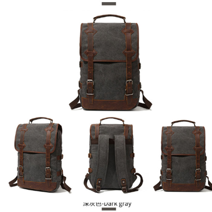 gray Vintage Canvas Backpack Women Men Bookbags Student School Backpacks for Teenagers Travel Bags grey/armygreen/khaki/blackgray Vintage Canvas Backpack Women Men Bookbags Student School Backpacks for Teenagers Travel Bags grey/armygreen/khaki/black