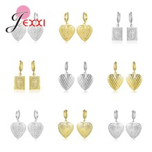 New Cross Heart Locket Dangle Drop Earrings 925 Sterling Silver Gold Photo Frame Memory Vintage Jewelry for Women Christmas Gift(China)