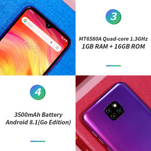 Image 4 - Ulefone Note 7 Smartphone 6.1 inch 19:9 Waterdrop Android 8.1 1GB+16GB Quad Core 3500mAh Face Unlock 3 Rear Camera Mobile Phone
