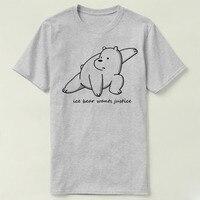 We Bare Bears Ice Bear Wants Justice Tee Short Sleeve Women Men Cotton DIY T Shirt