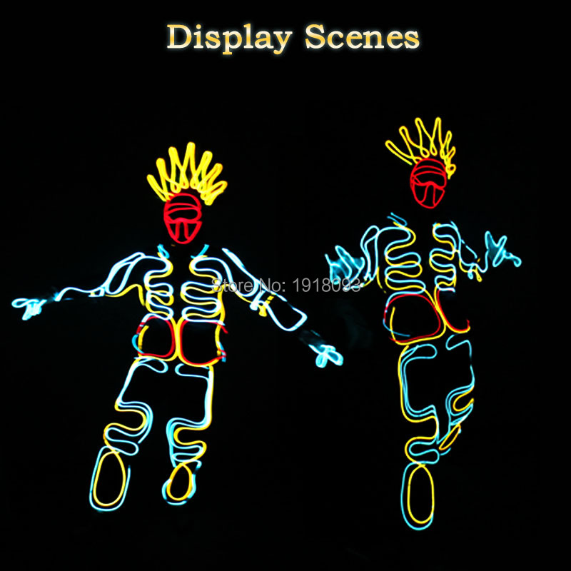 New Style DIY EL wire Costume Party decoration light up Flashing El Cloth Holiday Glowing Props