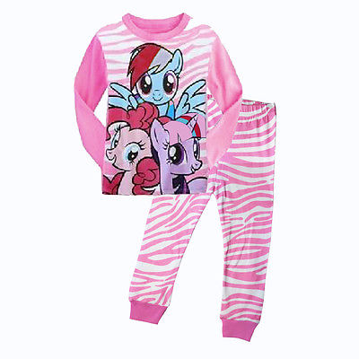 Cartoon My Little Toddler Kids Baby Girls Nightwear Pajamas Set Sleepwear Home-wear Pj's Clothing Suit 1-7Y