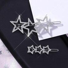 Korea Simple Fashion Hollow Zfull Zircon Stars Hairpin Sweet Temperament Clip Women Hair Clips Girls Headwear Wedding Bridal