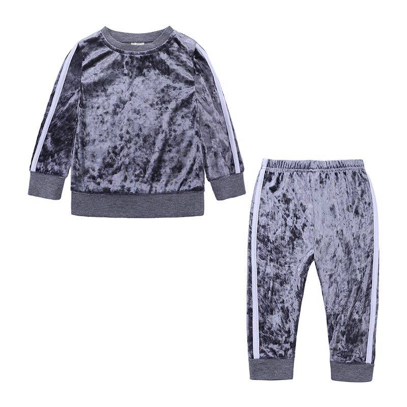 Sonder 2018New Toddler Baby Girls Fashion Clothes Sets 2PCSVelvet Long Sleeve Solid Pullover Sweatshirt Tops Pants Outfit 9Mto4Y in Clothing Sets from Mother Kids