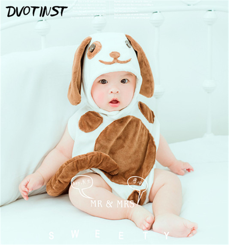 Dvotinst Newborn Baby Photography Props Dog Halloween Purim Bodysuit+Hat Unisex Fotografia Plush Costume Studio Shooting Costume ...