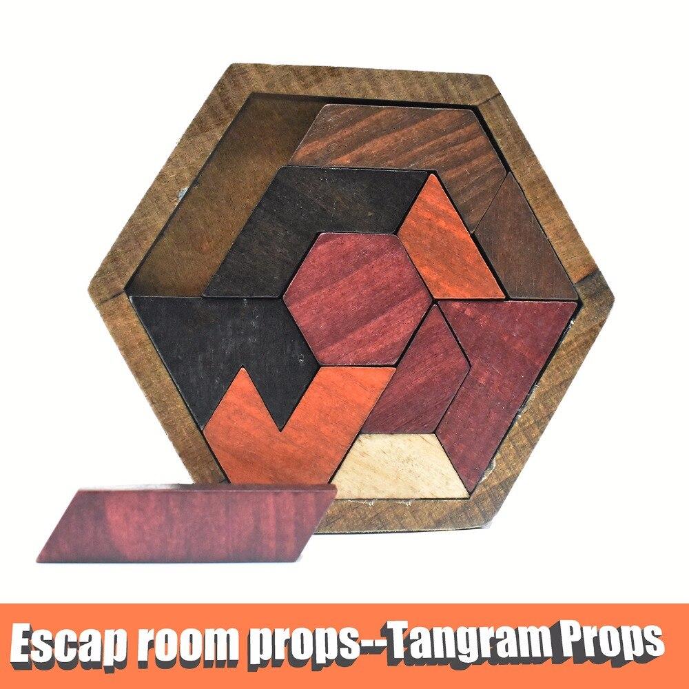 Accessoires de salle d'évasion accessoires Tangram (11 pièces en bois) salle d'évasion le jeu à contrôleur 60 KG EM Lock