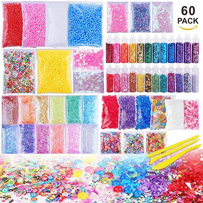 60 Pack Slime Supplies Making Kit Charms Slime Flat Beads Colorful Pearl Foam Ball Soft Pottery Children's DIY Craft Gift