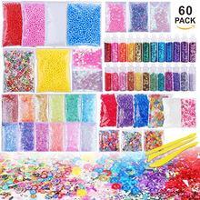 60 Pack Slime Supplies Making Kit Charms Slime płaskie koraliki kolorowe perłowe piankowa piłka miękka ceramika dla dzieci DIY Craft prezent