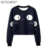 MITTELMEER 2018 Bts Harajuku Sweatshirt Woman Girls Crop Top Cartoon Cute Cat Bear Banana Fruit Printing