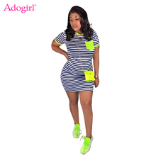 Adogirl Women Casual Pockets Stripe Bodycon Dress O Neck Short Sleeve T Shirt Mini Dress Female Fashion Clothing Summer Vestidos adogirl tie dye print women casual dress o neck short sleeve bodycon sheer mini t shirt dresses female night club party outfits