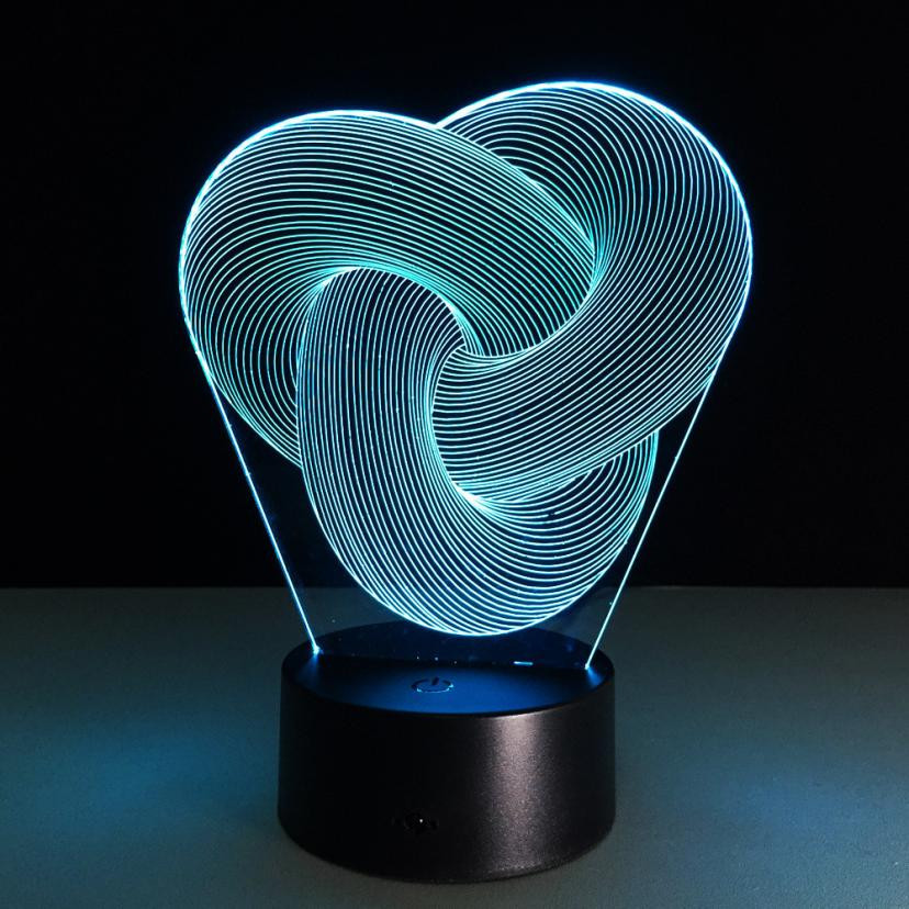 MUQGEW 3D illusion Visual Night Light 7 Colors Change LED Desk Lamp Bedroom Lighting Bulbing Color change Luminaria Kids Gifts
