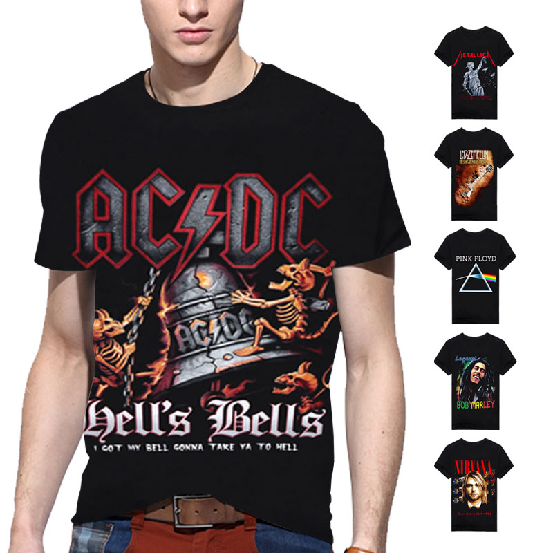 Hip Hop Band Rock Shirts T Shirt Print 3d Men T-shirt Cotton O neck Blouse Dry Fit Tops Man Tee Camisetas Hombre Swag Clothes A6