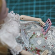Free Shipping,Girl Birthday Gift DIY 2pcs doll phones doll accessories For Barbi