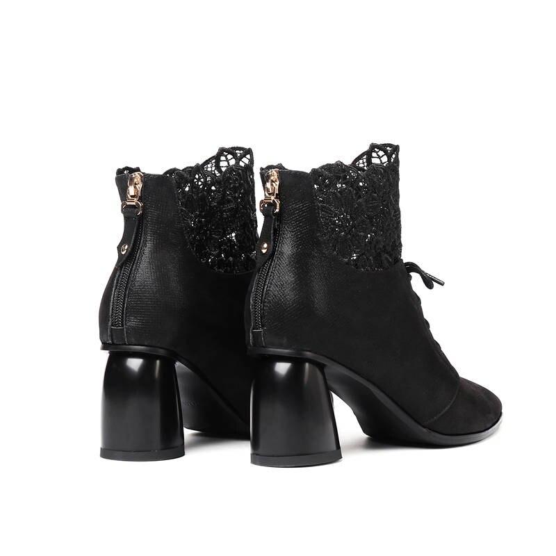 Talons En Chaussures Femmes Smeeroon Bottes Pointu Cheville 2018 Mode Bout Femme Date Hiver Véritable Cuir bleu Noir Automne Hauts Ax6C7gCWq