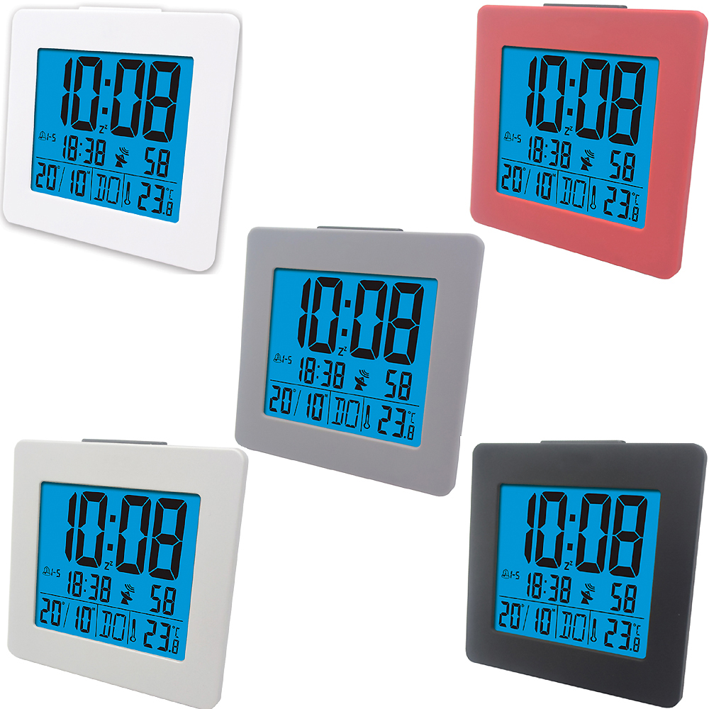 Multi-functional RCC Weather Clock Digital LCD Portable Weather Station Thermometer Indoor Alarm Clock with Blue Backlight