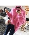 Nuevo suéter de la manera mujeres de alta buena mezcla de Visón de espesor de terciopelo grueso suéter de la rebeca Femenina de las mujeres femme tirón poncho vodolazka